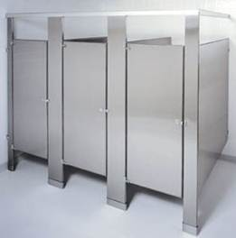 Toilet partitions washroom accessories fred j crisp for Stainless steel bathroom partitions